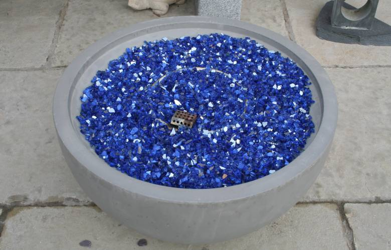Nantucket with blue glass coals